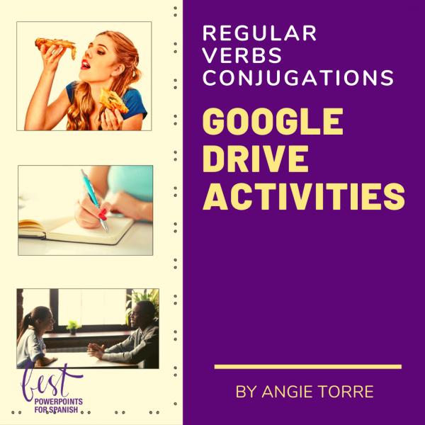 Spanish Present Tense Regular AR | ER | IR Verbs Conjugations Google Drive Activities