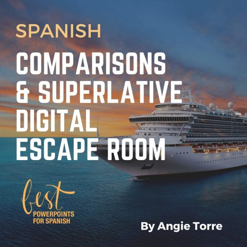 Spanish Digital Escape Room for Comparisons and Superlative Picture of a Cruise Ship and a sunset.