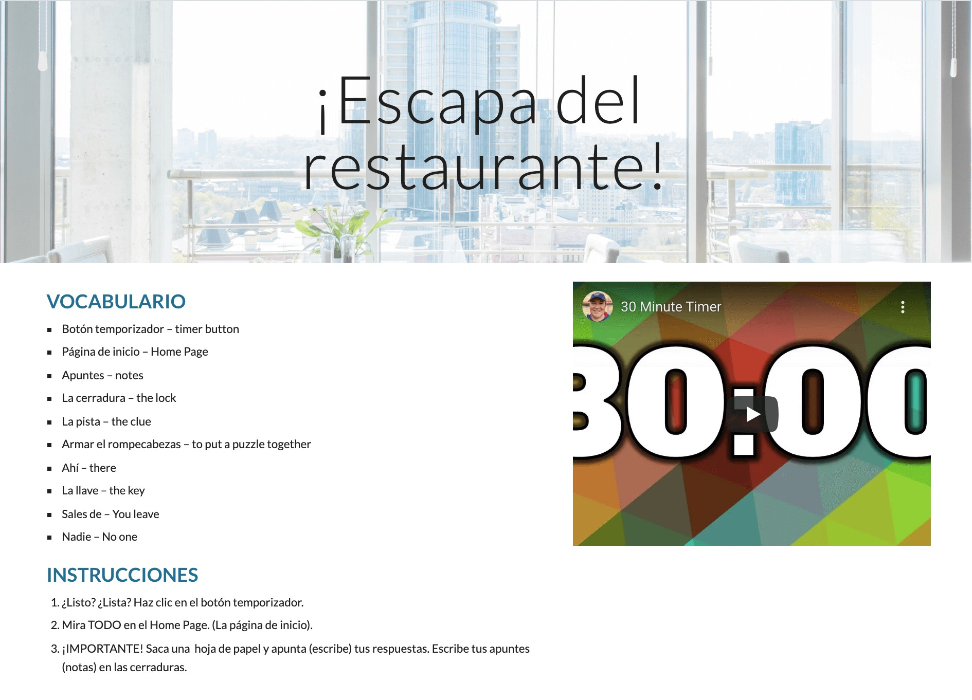 La ropa Spanish Food Vocabulary Digital Escape room