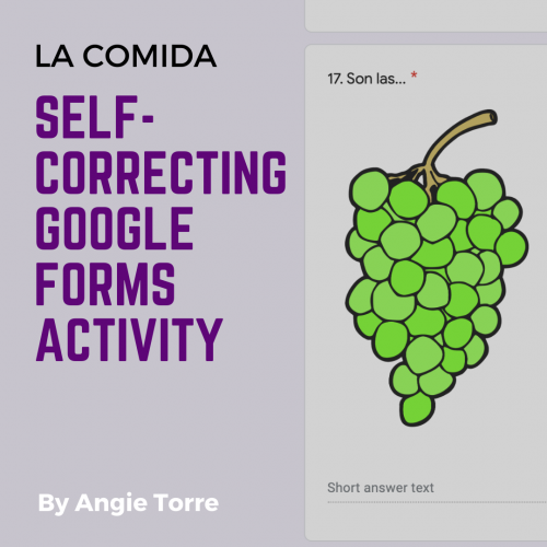 Spanish Food La comida Google Forms Activity