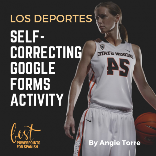 Los deportes Spanish Sports Vocabulary Self-correcting Google Forms Activities Female basketball player standing and holding a basketball