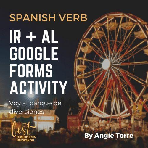 Spanish Verb Ir + Al Google Forms Activity Night scene of a ferris wheel at an amusement park