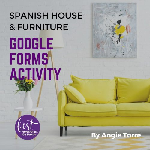 Spanish House and Furniture Google Forms Activity Couch, painting above couch, vase next to couch