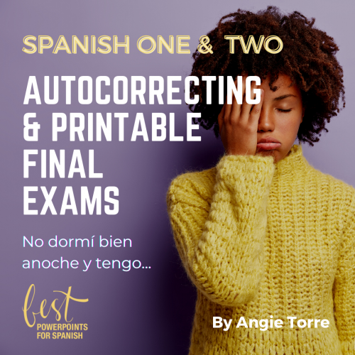 Spanish One and Two Final Exams Woman with hand over her eyes who is very tired