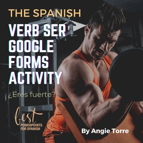 Spanish Verb Ser Present Tense Google Forms Activity Man in gym curling a weight