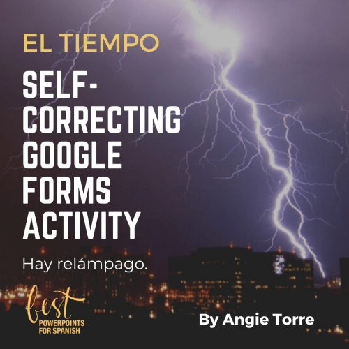 El tiempo self-correcting Google Forms Activity night view of city with lightening bolt in sky