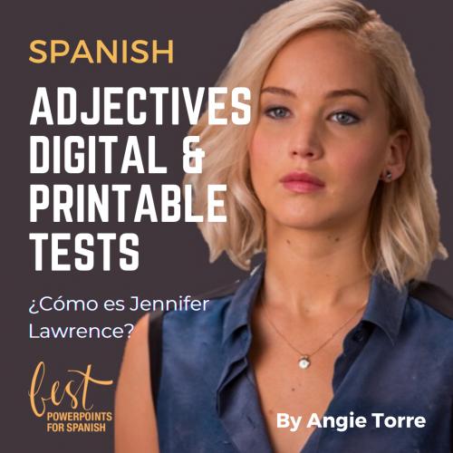 Spanish Descriptive Adjectives Digital and Printable Tests Photo of Jennifer Lawrence: ¿Cómo es Jennifer Lawrence?