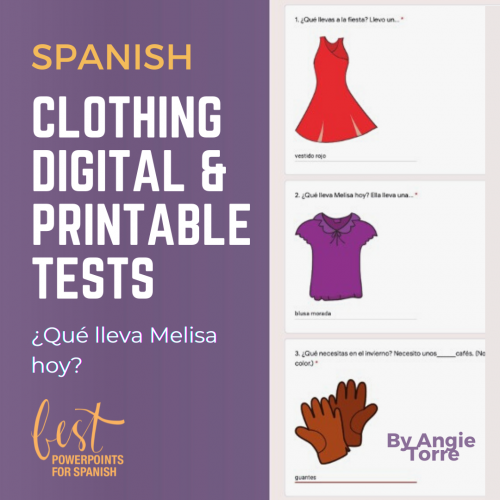 Spanish Clothing Digital and Printable Tests: Red dress, purple blouse, brown gloves clipart