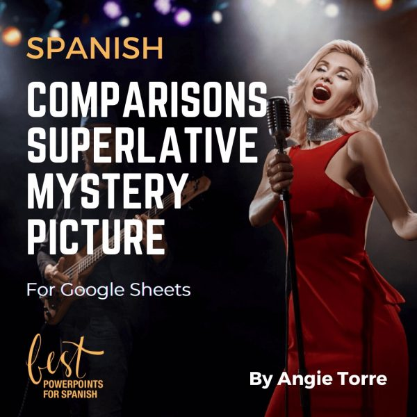 Spanish Comparisons Superlative Mystery Picture Blond woman in red dress singing