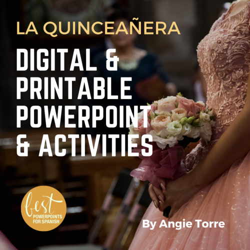 La quinceañera Digital and Printable PowerPoint and Activities: Girl wearing an elegant pink dress carrying flowers