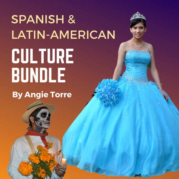 Spanish and Latin American Culture Bundle: Young girl in elegant blue dress, man with painted face and orange flowers