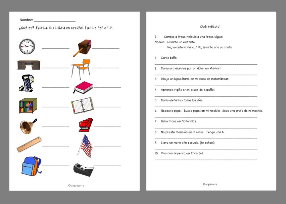 9 Effective Ways to Get Your Students Handout with pictures of classroom objects and handout in which students change the ridiculous statement to a logical statement